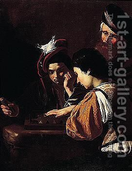 Young Boys Playing Backgammon, An Old Man Watching In The Background by (after) Nicolas Tournier - Reproduction Oil Painting