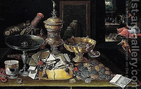 A Still Life Of Coins, Letters, A Silver Tazza, Gilt Vessels, Jewellery And A Silver Beaker Upon A Table, A Miser Haunted By Demons Beyond by (after) Hieronymus II Francken - Reproduction Oil Painting