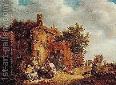 Peasants Eating Before A Tumbledown Cottage At The Side Of A Road by Isaack Jansz. van Ostade - Reproduction Oil Painting
