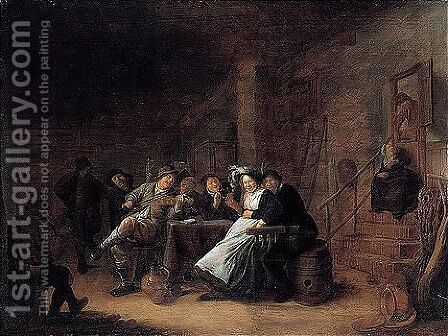 A Merry Company In A Tavern by Jan Miense Molenaer - Reproduction Oil Painting