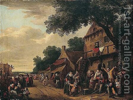 A crowded village scene with figures drinking before an inn, a play being staged on the left by (after) Gillis De Winter - Reproduction Oil Painting