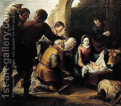 The Adoration Of The Shepherds by (after) Murillo, Bartolome Esteban - Reproduction Oil Painting