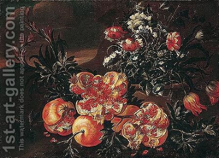 Still life of pomegranates, with tulips, morning-glory and chrysanthemums in a stone pot by (after) Nicola Casissa - Reproduction Oil Painting