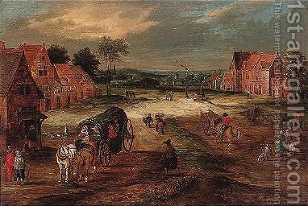 Landscape with a covered waggon and other figures in a village street by (after) Jan The Elder Brueghel - Reproduction Oil Painting