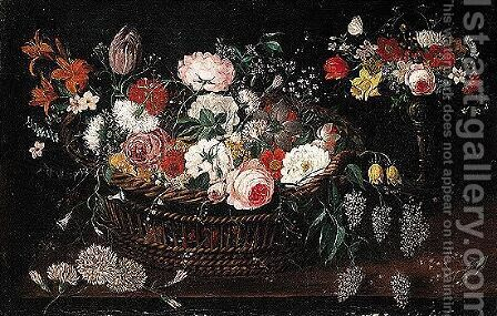 Still life of mixed flowers in a basket with a bouquet of flowers in a gilt tazza upon a table top by (after) Jan The Elder Brueghel - Reproduction Oil Painting