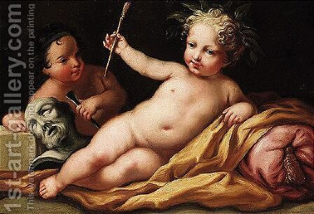 Allegory of painting and sculpture by (after)  Jacopo (Giacomo) Amigoni - Reproduction Oil Painting