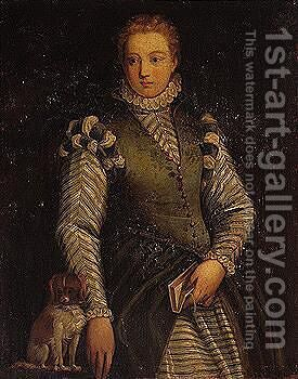 Portrait of a lady, wearing a green dress, holding a book, together with her pet dog by (after) Paolo Veronese (Caliari) - Reproduction Oil Painting