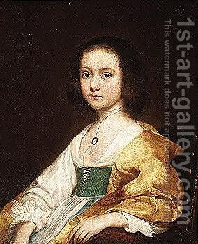 Portrait of a young girl wearing a white dress with a yellow shawl by Dutch School - Reproduction Oil Painting