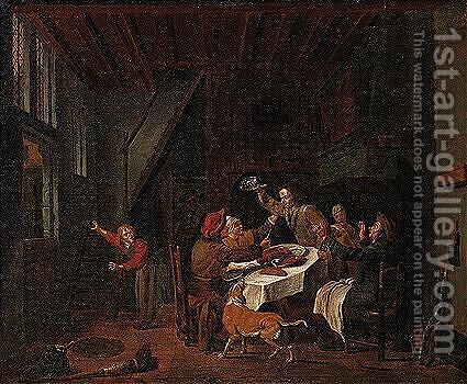 A Domestic Interior With A Family Quarreling Over A Meal by Jan Jozef, the Younger Horemans - Reproduction Oil Painting