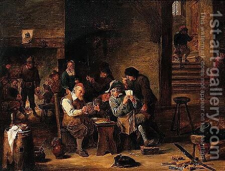 A tavern interior with peasants playing cards by (after) David The Elder Teniers - Reproduction Oil Painting