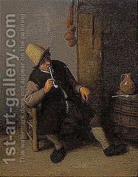 The Smoker by Cornelis Dusart - Reproduction Oil Painting
