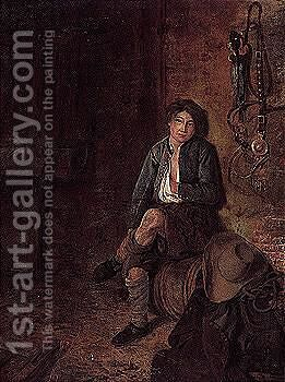Stable interior with a young boy seated on a barrel by (after) Philips Koninck - Reproduction Oil Painting