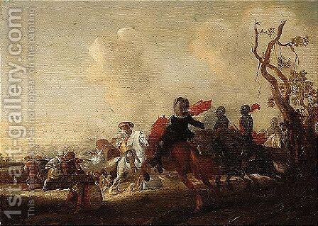 A skirmish between cavalry and infantry by (after) Anthonie Palamedesz. (Stevaerts, Stevens) - Reproduction Oil Painting