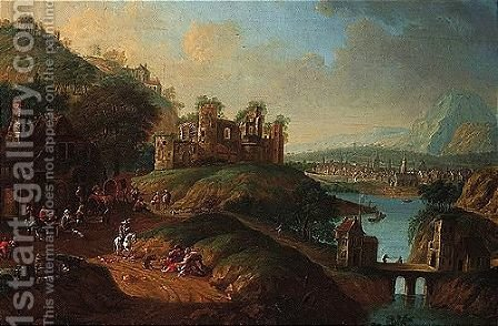 A River Landscape With Figures Outside An Inn Beneath A Ruined Castle, A Town Beyond by Dionys Verburgh - Reproduction Oil Painting