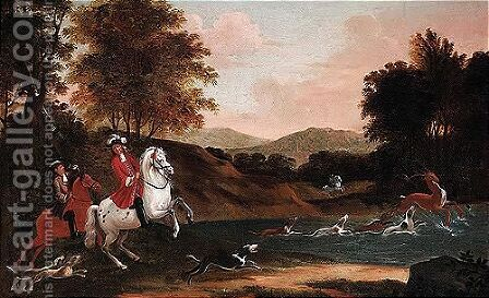 Landscape with a stag hunt by (after) Jan Wyck - Reproduction Oil Painting