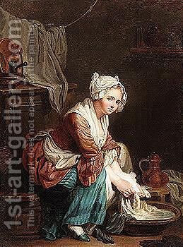 A laundry maid by (after) Greuze, Jean Baptiste - Reproduction Oil Painting