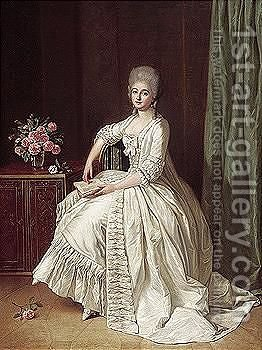 Portrait Of A Lady, Full Length, Seated Beside A Cabinet With A Vase Of Roses On Top, Holding A Book by Guillaume Martin - Reproduction Oil Painting