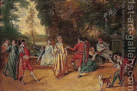 A scene galante by (after) Watteau, Jean Antoine - Reproduction Oil Painting