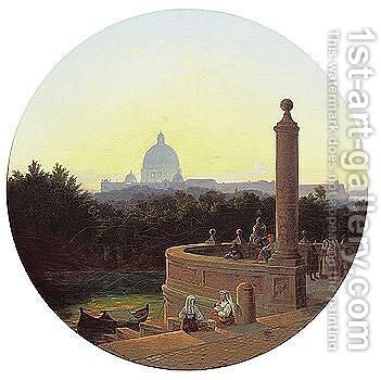 Rome, a view of Saint Peter'S by Albert Zhamet - Reproduction Oil Painting