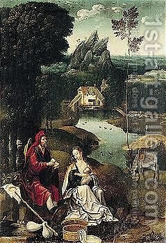 The Rest On The Flight Into Egypt by (after) Joachim Patenier (Patinir) - Reproduction Oil Painting