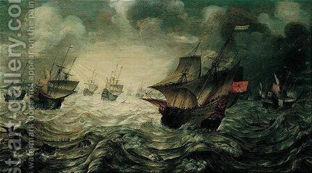 A Sea-piece, With Dutch Men-o'-war Offshore In Stormy Weather by Hans I Savery - Reproduction Oil Painting