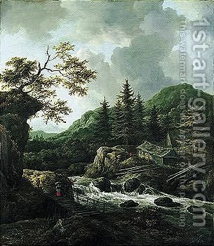 A Torrent In A Scandinavian Wooded Landscape With A Peasant Crossing A Wooden Bridge And Cottages On The Far Bank Of The River by Jacob Van Ruisdael - Reproduction Oil Painting