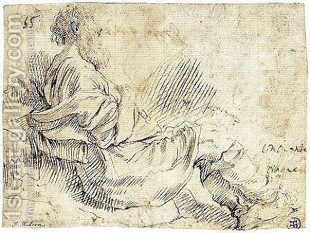 A Bearded Man Seated On The Ground by Giovanni Battista Caracciolo - Reproduction Oil Painting