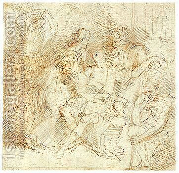 Various Sketches by Domenico Fiasella - Reproduction Oil Painting