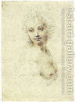 Study Of A Woman by (after) Peter Oliver - Reproduction Oil Painting