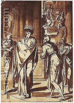 Courtiers Pleading With King Ahasuerus by Giovanni Guerra - Reproduction Oil Painting
