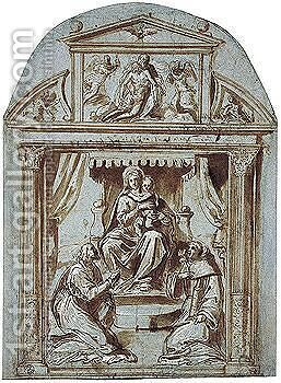 Study For An Altarpiece With The Madonna And Two Saints Within An Architectural Framework by Avanzino Nucci - Reproduction Oil Painting