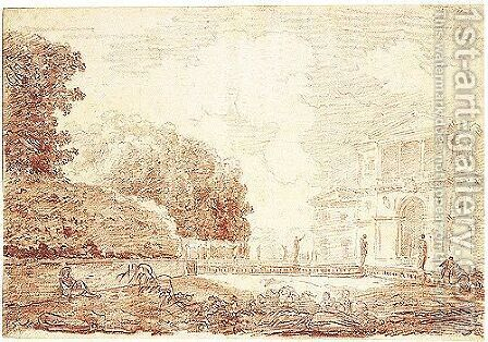 View Of The Villa Aldobrandini At Frascati, Seen From The Garden by Hubert Robert - Reproduction Oil Painting