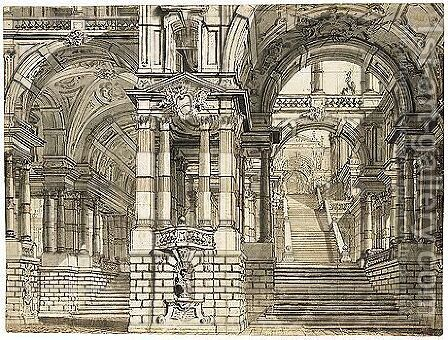 A Colonnaded Interior With Twin Stairs And Many Arches by (after) Giuseppe Galli Bibiena - Reproduction Oil Painting