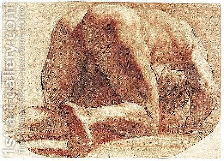 A crouching man, seen from behind by (after) Annibale Carracci - Reproduction Oil Painting