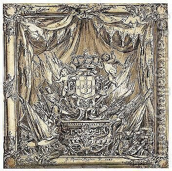 Design For A Monument, With The Royal Arms Of Portugal by Jan Van Der Heyden - Reproduction Oil Painting