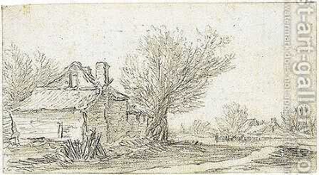 A Sketchbook Sheet A Cottage Beside Trees To The Left, And A Path To The Right And Other Cottages And Animals Behind by Jan van Goyen - Reproduction Oil Painting