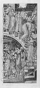 The golden stairs by (after) Sir Edward Coley Burne-Jones - Reproduction Oil Painting