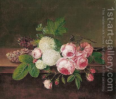 Opstilling Med Blomster (Still Life With Flowers) by Hanne Hellesen - Reproduction Oil Painting