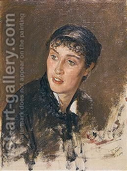 Portrait Of A Young Woman (Testa Di Donna Con Frangetta) by Giuseppe de Nittis - Reproduction Oil Painting