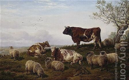 Cattle And Sheep Resting by Charles Jones - Reproduction Oil Painting
