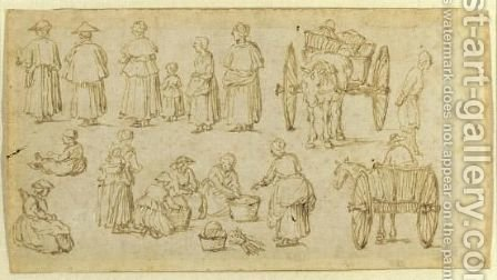 Double-Sided Sheet Of Studies Of Figures At Market by (after) Jan The Elder Brueghel - Reproduction Oil Painting
