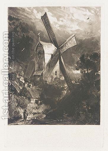 Mill Near Brighton by David Lucas - Reproduction Oil Painting