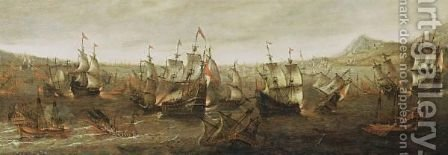 A Sea Battle With Men-O'-War, Galleons And Other Sailing Ships Near A Mediterrenean Rocky Coast by Dutch School - Reproduction Oil Painting