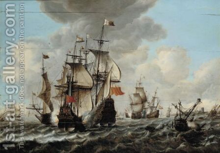 A Naval Engagement Between Dutch And English Ships by Jan Feytsz De Vries - Reproduction Oil Painting