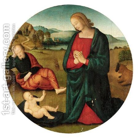 The Holy Family by (after) Pietro Vannucci Perugino - Reproduction Oil Painting