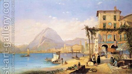 Lago Di Lugano by (after) Edward Thomas Coleman - Reproduction Oil Painting