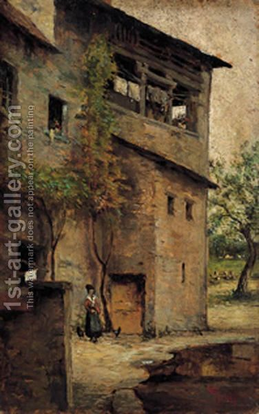 In Cortile by Giovanni Giani - Reproduction Oil Painting