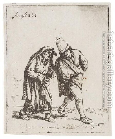 The Couple Walking 2 by Adriaen Jansz. Van Ostade - Reproduction Oil Painting