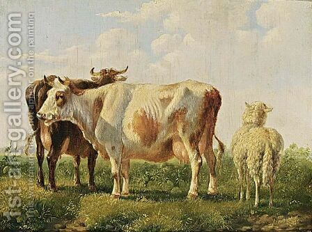Cattle In A Landscape 2 by Albertus Verhoesen - Reproduction Oil Painting