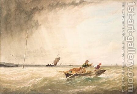 Boat in the storm by - Unknown Painter - Reproduction Oil Painting